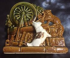 Vintage 1953 MCCOY Spinning Wheel Planter with Scottie Dog and Kitten Signed RS