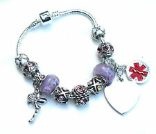 Ladies Womens Medical ID Charm Bracelet Engraved Personalised Any Condition