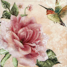 4x Single Lunch Party Paper Napkins for Decoupage Decopatch Craft Hummingbird
