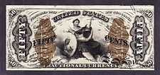 "Us 50c Fractional Currency Note Wide Surcharge w/ ""1"" 3rd Iss Fr 1368 Xf-Au -001"