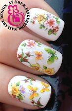 NAIL ART WRAP WATER STICKERS TRANSFERS DECALS MIXED FLOWERS BUTTERFLIES #420