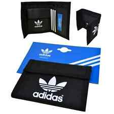 Adidas Originals Billetera Multi Pliegue De Nylon Negro Nuevo Raro Retro x34008