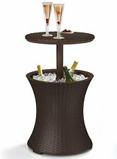 Round Bar Table Rattan Cooler Outdoor Patio Bistro Furniture Dining Set Drink