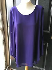 $129 Chico's Black Label Purple Open Sleeve Layered Tunic Top Shirt 3 = XL 16/18