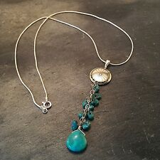 "*¨¨*:•925 STERLING SILVER TURQUOISE MEDICINE WHEEL 16"" NECKLACE•:*¨¨*:•."