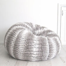 FUR BEANBAG Cover Soft Silver Grey Husky Bean Bag High End Lounge Movie Chair