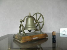 vintage Hotel Desk Bell Ring roon service Reception Shop Foyer wood Brass vtg