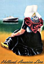L'ARTE Annuncio HOLLAND AMERICA LINE Viaggi NAVE DA CROCIERA TRANSATLANTICO POSTER stampati