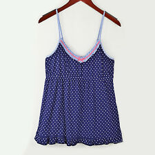 New TOMMY HILFIGER Patriot Stars Cotton Knit Empire Waist Cami Top Large Navy