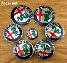 7x SET Alfa Romeo 74mm Emblem Badge Front+Back 60mm WHEELS & STEERING W. CAP