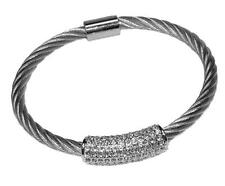 Pave Dome Barrel Clear AAA Cubic Zirconia Stackable Rhodium Bangle Bracelet