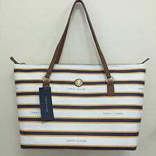 NEW! TOMMY HILFIGER WHITE NAVY YELLOW LARGE SHOPPER TRAVEL TOTE BAG PURSE $98