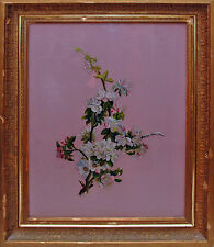 ANTIQUE VICTORIAN APPLE BLOSSOMS BOTANTICAL FLOWER REVERSE PAINTING ON GLASS LGE