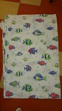 "Pottery Barn Kids ""Tropical Fish - Blue"" Twin Flat Sheet"