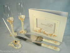 BEACH THEME Guest book,Pen Set Toasting flutes,Cake knife server Seashell Design
