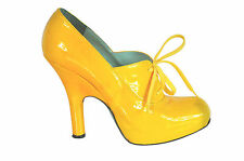 Vivienne Westwood Yellow Patent Leather Hidden Platform Lace up Heels Size 39