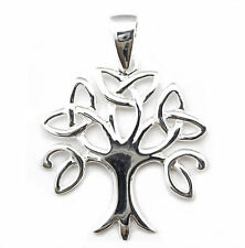 Solid Sterling Silver Triquetra Tree of Life Trinity Knot Pendant Charm P015