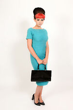 Stunning 1950s blue mohair wool Pencil wiggle dress by MR MORT Couture cocktail