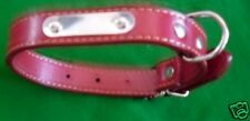 """12"""" red dog collar with silver name plate new leather special offer"""