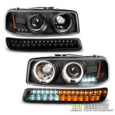 Black 1999-2006 Sierra Yukon Halo Projector Headlights +LED Bumper Signal Lights