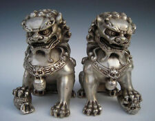 China Silver Lion Foo Fu Dog Door guard Copper Statue A Pair H:16cm