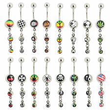 Lot 20X Stainless Steel Dangle Belly Navel Ring Button Bar Body Piercing Jewelry