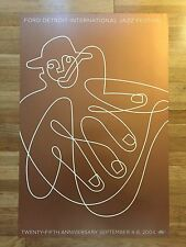 Ford Detroit Jazz Fest Festival 25th GOLD Poster new orleans...