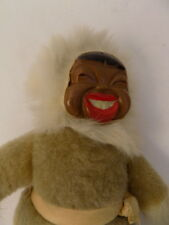 Vintage Yupik Alaska Alaskan Inuit Eskimo Doll Wood Head Fur Body EUC
