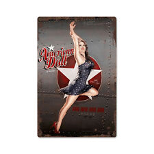 American Doll Flugzeug Nose Art Pin Up USA Vintage Retro Sign Blechschild Schild