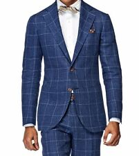 Custom Made Windowpane Men Suit,Tailor Made Navy Blue Windowpane Check Men Suits