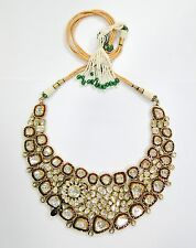 Vintage antique Solid 20K Gold jewelry Diamond ruby enamel work Necklace india