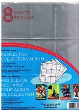 9-POCKET PAGE TRADING CARDS SLEEVES PACK OF 8- HOLDS 72 -HOCKEY CARD - FOOTBALL