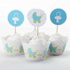 12x Baby Stroller Cupcake Toppers + Wrappers. Party Jelly Cup Baby Shower