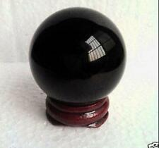 40MM +Stand Natural Black Obsidian Sphere Large Glass Crystal Ball Healing #518