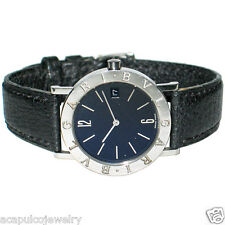 BVLGARI BB33SLD Stainless Steel & Leather Strap Men's Watch Pre-Owned