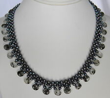 SALE Grey Peacock Pearls Black Rutilated Quartz Drops Beadwork Necklace Collar