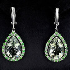 39 CTS!!SUPERIOR! NATURAL PEAR CUT GREEN AMETHYST, TSAVORITE GARNET 925 EARRINGS