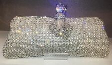 NIB Crystal Evening Bag Clutch Hand Bag made with Swarovski Elements Silver