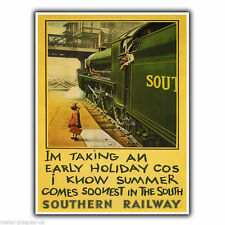 SOUTHERN RAILWAY Vintage Retro Travel Advert METAL WALL SIGN PLAQUE poster print