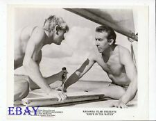 Barechested men on boat VINTAGE Photo Knife In The Water