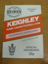 22/02/1987 Rugby League Programme: Keighley v Huddersfield  (Folded). Condition: