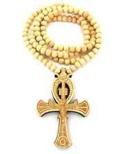 """New ANKH CROSS Wood Pendant &8mm/36"""" Wooden Bead Chain Hip Hop Necklace XJ223"""
