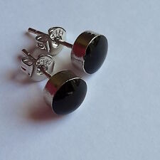 925  STERLING SILVER BLACK ROUND  EAR STUD EARRING UNISEX
