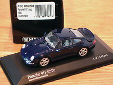 RARE EARLY ISSUE MINICHAMPS PORSCHE 911 (993) TURBO DARK MONTREAL BLUE 1:43