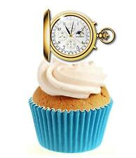 Novelty Pocket Watch 12 Edible Stand Up wafer paper cake toppers birthday