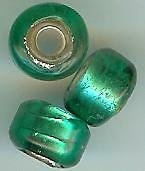HANDMADE LAMPWORK CROW/PONY SILVER LINED GLASS BEAD - TEAL - 9-10mm - (50)