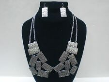 Hot rectangle metal chunky statement necklace and earring set antique silver