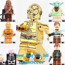 7pcs Star Wars C-3PO Chewbacca R2-D2 Han Solo Obi Wan Custom Lego Mini Figures