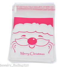 50Sets Self Adhesive Seal Plastic Bags Fushia X-mas Santa Decoration 15x10cm