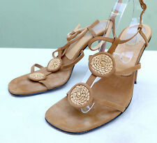 """CASADEI OPEN TOE SHOES PERFECT TAN SUEDE W/MEDALLIONS  & 4"""" HEEL SZ 8, ITALY"""